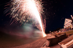 Fisheye fireworks (Northwest dad) Tags: beach water island washington cool nikon waterfront fireworks fisheye 8mm whidbey d300 samyang prooptic