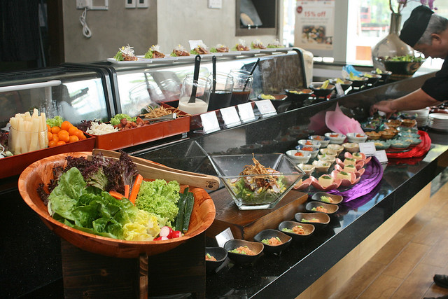 Help yourself to the salad buffet and appetiser section