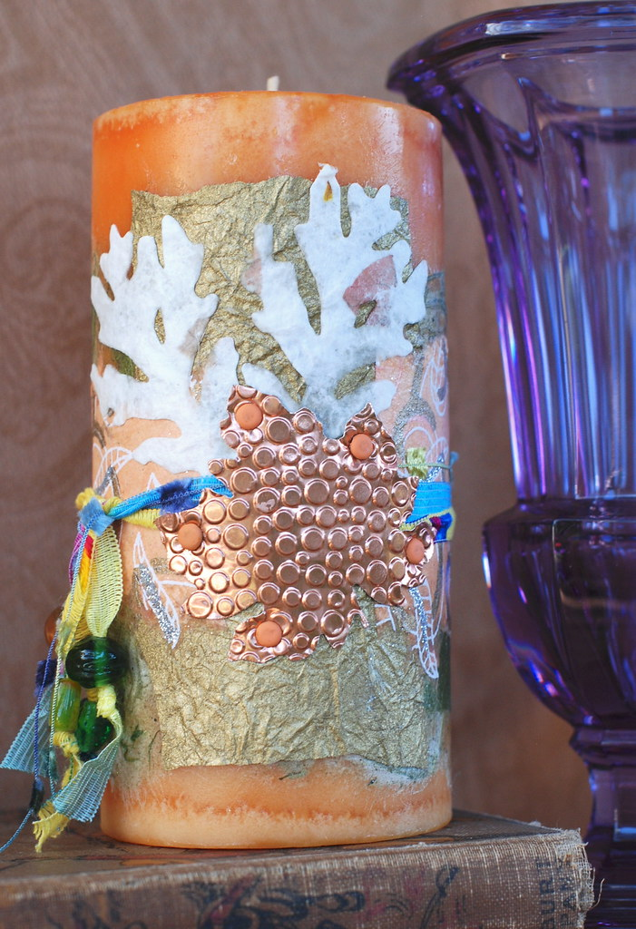 Decorated Candle - Copper Leaf