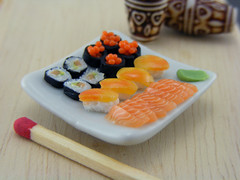 (Shay Aaron) Tags: food white black sushi square cuisine japanese miniature raw dish bright handmade maki salmon mini row clear polymerclay fimo tiny eggs nigiri elegant 12th 112 assorted insideout dollhouse petit californiaroll oneinchscale shayaaron