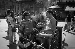 smoke talk (P.Baille) Tags: street leica white black paris film zeiss 50mm kodak candid bessa rangefinder montmartre m epson f2 ilford planar zm v500 r2a