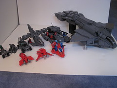 Halo Vehicle Group Shot (Benny Brickster) Tags: 3 gun tank lego chief ghost halo banshee pelican scorpion master cannon hornet phantom combat spectre mongoose evolved warthog covenant gauss unsc
