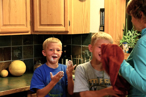 Sam and Will after converting the marshmallows into taffy
