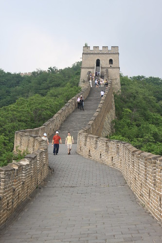 Heading to the high level of watchtower at Mutianyu Great Wall Beijing China