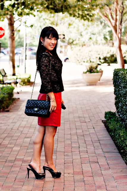 urban outfitters chiffon lace cardigan forever 21 dusty pink lace tee, forever 21 red tencil skirt, bebe zahara black slingbacks, jewelmint forever yours bracelet, chanel lambskin m/l classic flap