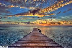 Curacao Sunset at Floating Pier (Captain Kimo) Tags: sunset digital photoshop pier highdynamicrange hdri photomatix hdrphotography hdrphotos curacaoisland topazadjust hdrbeachphotography