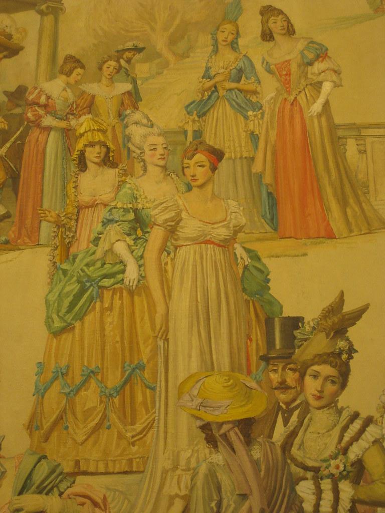"""Detail of Napier Waller's Mural """"Revelation of Fashion"""" - Myer Emporium Mural Hall, Bourke Street, Melbourne"""