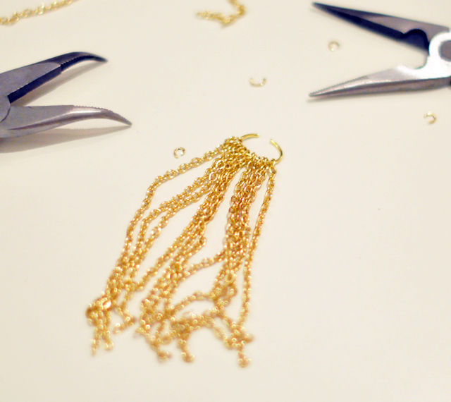 Gilded Gemstone and chain tassel necklace DIY-3