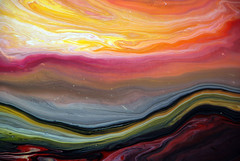Abstract Fluid Landscape (markchadwickart) Tags: blue red orange black color colour green art yellow river painting landscape flow paint artist purple mark vibrant fluid land flowing liquid chadwick