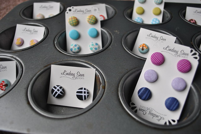 New button earrings - assortment