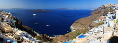 Panoramic View of Santorini (Getting Lost - www.tonygettinglost.com) Tags: travel sea panorama water landscape volcano aegean santorini greece caldera thira fira thera the4elements