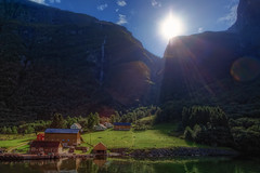 Village In The Fjord (TheFella) Tags: longexposure trees sky sun mountains slr water sunshine norway digital photoshop canon eos norge photo high dock europe village dynamic unesco worldheritagesite huts photograph processing slowshutter 5d fjord nordic rays bergen dslr scandinavia range hdr highdynamicrange hordaland flm markii gudvangen sognefjord postprocessing photomatix aurlandsfjord kingdomofnorway thefella 5dmarkii conormacneill thefellaphotography