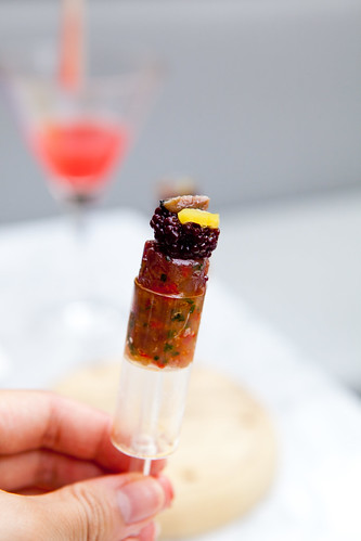 "Yellowfin Tuna Tartare ""Push Pop"" red wine caviar"