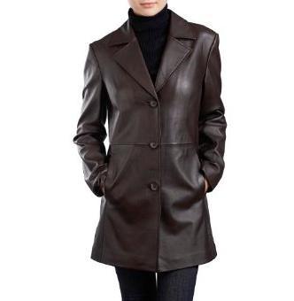 Leather walking coat