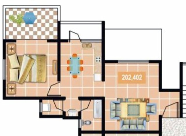 Furniture Layout of Gardenia Sus Gaon 1 BHK Flat 2nd 4th Floor 437 sq.ft. Carpet + 60 sq.ft. Terrace