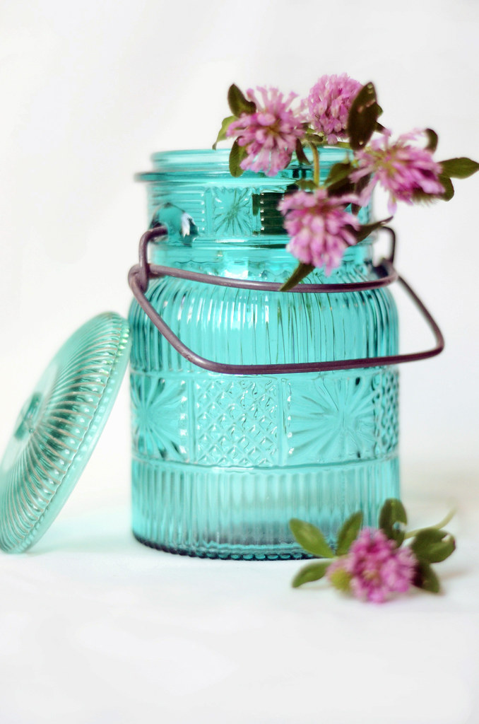 Vintage Turquoise Avon Jar with Wire Bale Closure