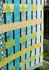 'Weaving the strands' quilt finished (4) (ShapeMoth) Tags: blue green geometric yellow modern grey aqua quilt stripes gradient patchwork strips princecharming fatquarter lapquilt konacotton tulapink shapemoth weavingthestrands