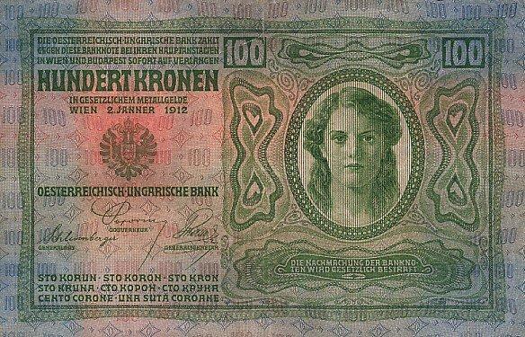 100 Kronen Rakúsko-Uhorsko 1913, I. vydanie Pick 1