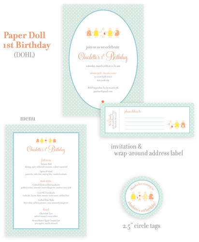 Paper Doll Birthday Invitation