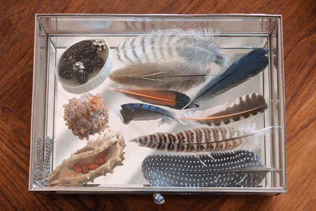 Glass box of treasures.