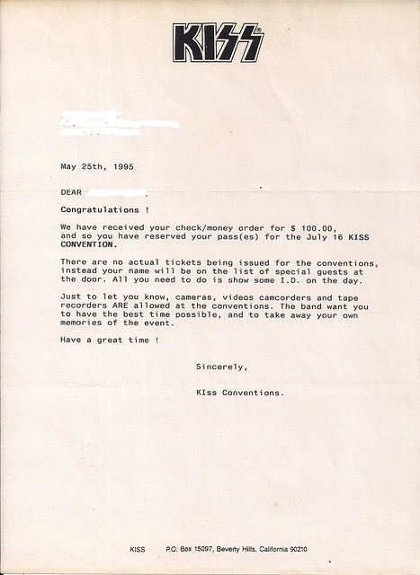 May 1996 Kiss Convention (Ticket Conf. Letter)0001