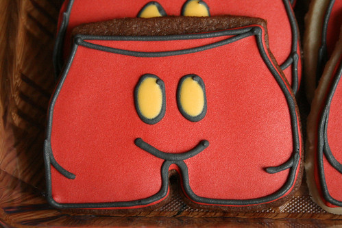 Mickey Mouse Shorts Cookies for a 1st Birthday.