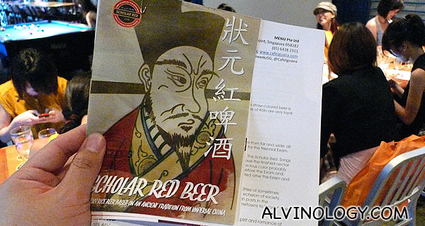 "Interesting new ""Scholar Red Beer"" from Brewerkz"