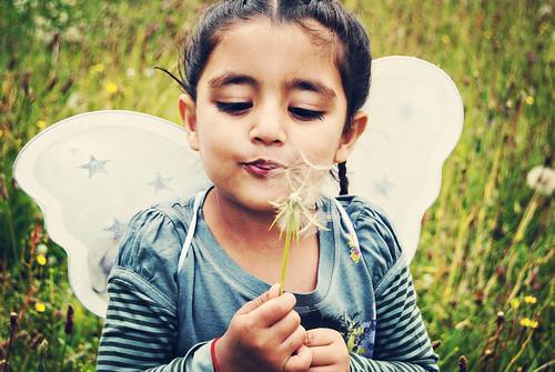 フリー写真素材, 人物, 子供, 少女・女の子, 草原, 吹く,