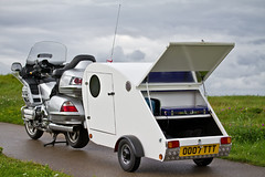Motorcycle and Caravan (CWhatPhotos) Tags: teardrop tear drop caravan caravaning outdoors towing hitch hitching trailor trailer one person onepersoncaravan bed sleeper sleep canon 7d eos motorcycle motorbike biker bike motorcycles picture pictures photo photos images image foto fotos that have with which contain camping touring tour gl1800 goldwing gold wing silver honda 1800 gl big 60mm prime lens f28 caravanning tow camper pulling pull pulls mini small together carriage loaded load cycavan behind professional manufacturer pro manufactured manufacture cwhatphotos flickr