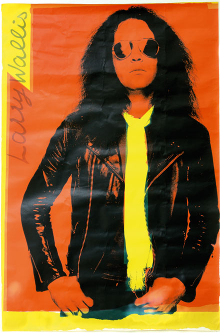 Larry Wallis, 60in x 40in poster, 1977. Barney Bubbles design using Chris Gabrin photograph.