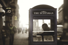 The Scotsman (Dylan-K) Tags: street news man silhouette booth paper scotland stand newspaper nikon edinburgh afternoon united kingdom nikkor cinematic d90 85mmf14 dylank