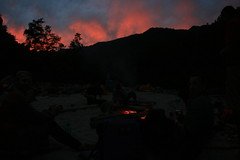 Sunset arounfd the campfire on the Kameng river Adventure rafting and Kayaking trip