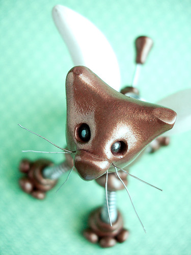 Golden Godiva Angel Robot Cat Sculpture | Hanging Ornament by HerArtSheLoves
