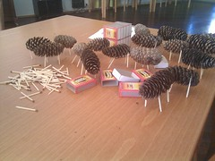 Making spruce cone cows for decoration (Miia Sample) Tags: play decoration games matches spruce sprucecone
