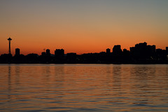 Seattle Skyline from Alki Beach at Sunrise (David Gn Photography) Tags: seattle reflection silhouette skyline sunrise dawn downtown raw cityscape waterfront view scenic alkibeach spaceneedle pugetsound skycrapers canoneos7d sigma2470mmf28ifexdghsm mygearandme sigma50th