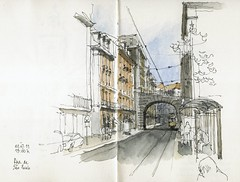 Lisbon, Rua do Sao Paulo (Luis_Ruiz) Tags: architecture square sketch drawing lisboa lisbon dibujo symposium carnetdevoyage urbansketchers