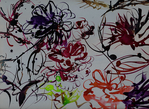Dahlias and zinnias