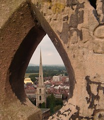 St Andrew's From Cathedral Tower (SallyM_1976) Tags: uk tower church stone cathedral framed stonework spire frame standrews worcestershire worcester birdseye gloversneedle pfbmag architecturereaderchallenge