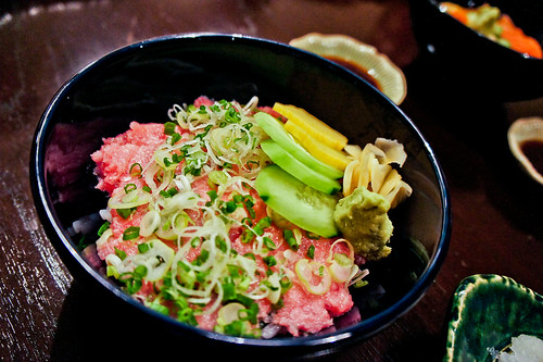 Rice bowl of chopped tuna belly