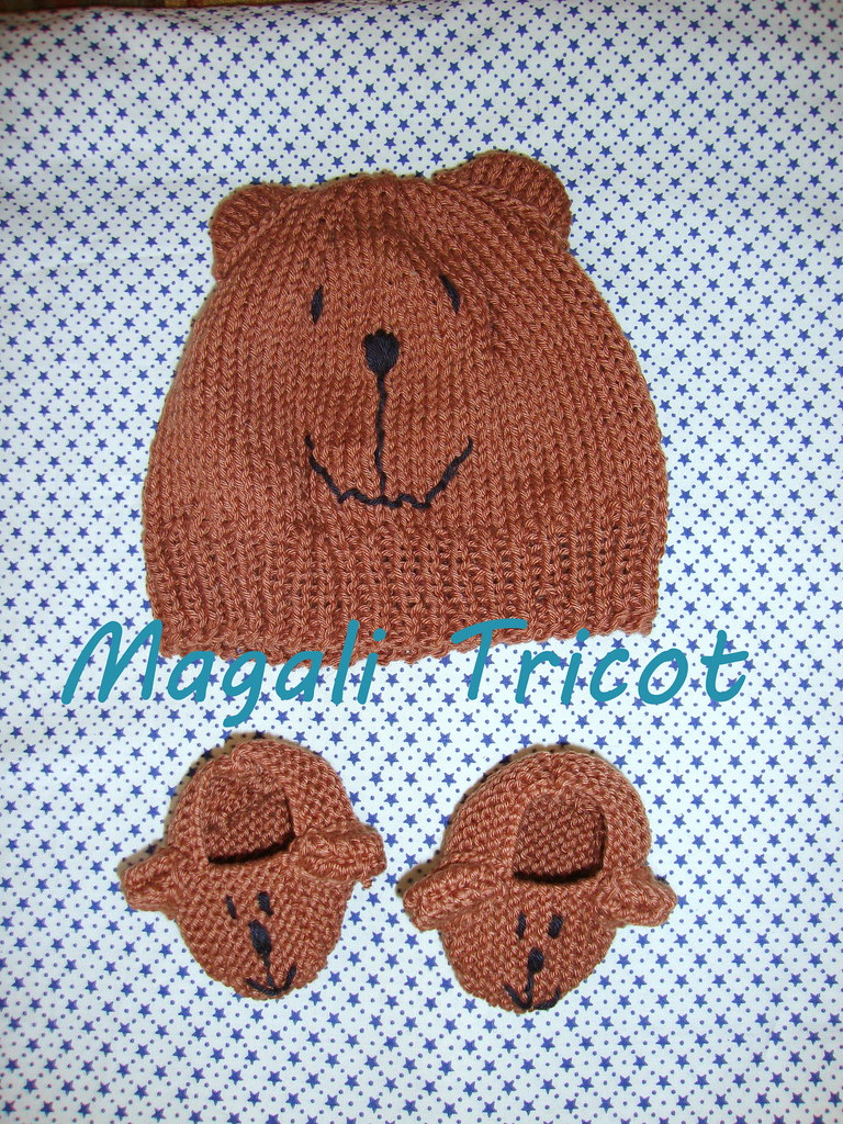 Conjunto Amigo Urso (Magali Tricot) Tags  animal tricot gorro infantil bebe  bebê bichos 87231bf41f6
