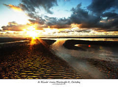 A River runs through II, Crosby (Ianmoran1970) Tags: sunset sea sky cloud beach wet water beautiful canon river sand pretty ripples windfarm 1022 crosby hss ianmoran sliderssunday ianmoran1970