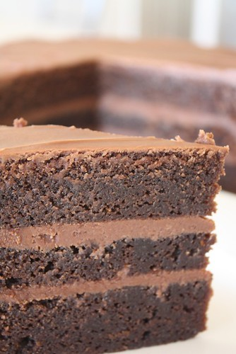Milk chocolate mud cake filled with milk chocolate ganache by Louisa Morris Cakes