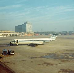 BMA BAC 1-11-500 G-AXLM, Manchester, Autumn 1971e (Proplinerman) Tags: manchester 1971 aircraft airliner bma jetliner bac111 britishmidlandairways gaxlm