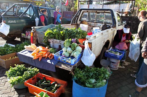 Local farmers selling vegetables in Hanga Roa