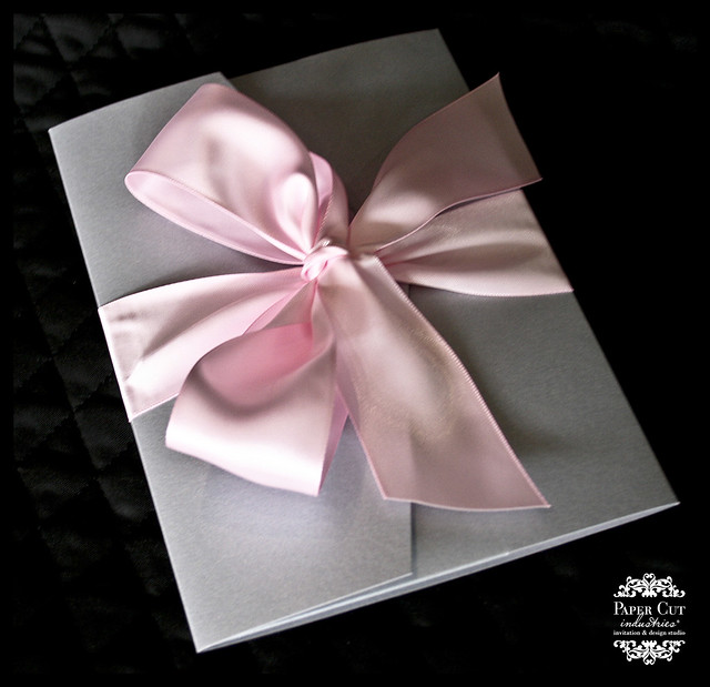 Pink and Silver Chandelier Desitnation Wedding Invitation
