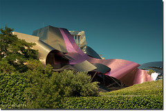 Marqus de Riscal (arturii!) Tags: blue light sky building green colors beauty architecture modern wow de hotel la amazing nice interesting europa europe wine superb awesome north architect stunning titanium marques rioja impressive vi vino gettyimages gerhy amzing elciego riscal polarize canoneos400d colorphotoaward arturii arturdebat