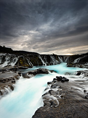 Brarfoss - Bridge Waterfall (DavidBurstein) Tags: blue sky nature water clouds landscape waterfall iceland moss rocks canon5d waterscape tiltshift brarfoss leefilters 24mmtiltshift canon5dmkii 09hardgrad bruarfoss tse24mmf35lii