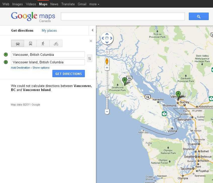 Google Maps - directions from Vancouver to Vancouver Island