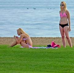 Blondes On Beach (FrogBum) Tags: beach michigan blondes bikini swimsuit bathingsuit bikinis detroitmichigan metroparks huronclintonmetroparks harrisontwp huronclinton lakestclairmetropark