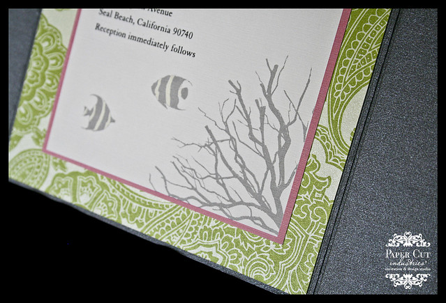 Grey, Pink and Green Coral Wedding Invitation